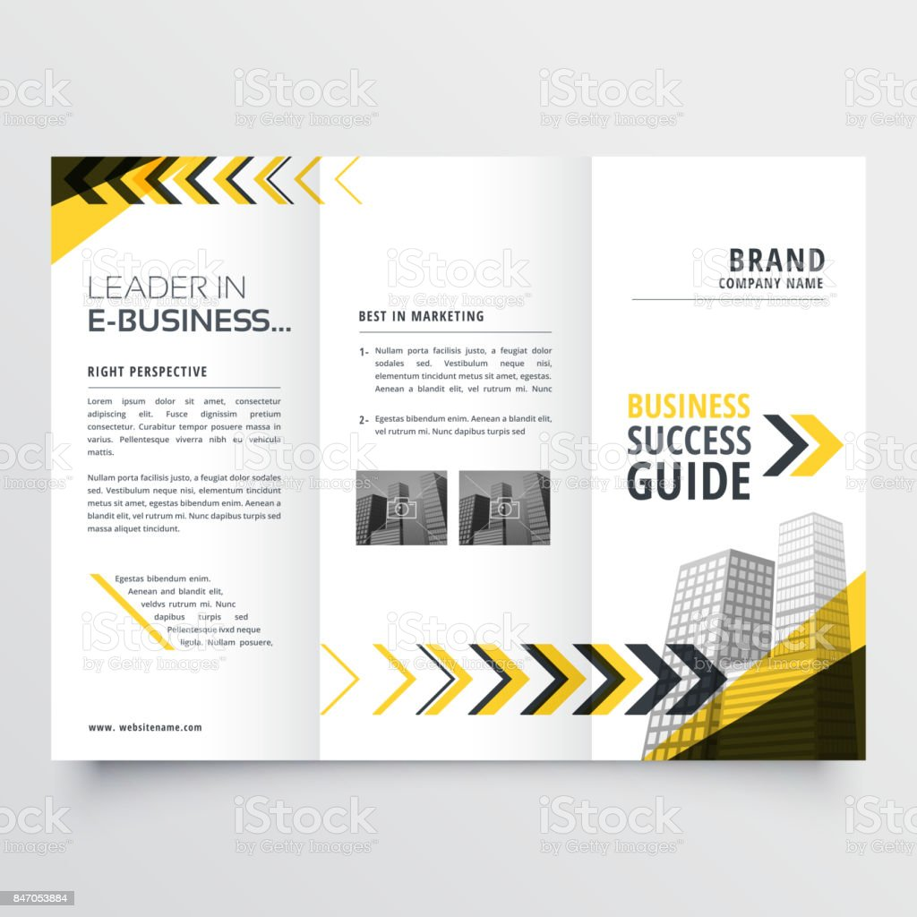 awesome tri fold brochure design in yellow black shapes with arrow vector art illustration