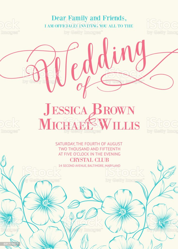 Awesome wedding invitation. vector art illustration