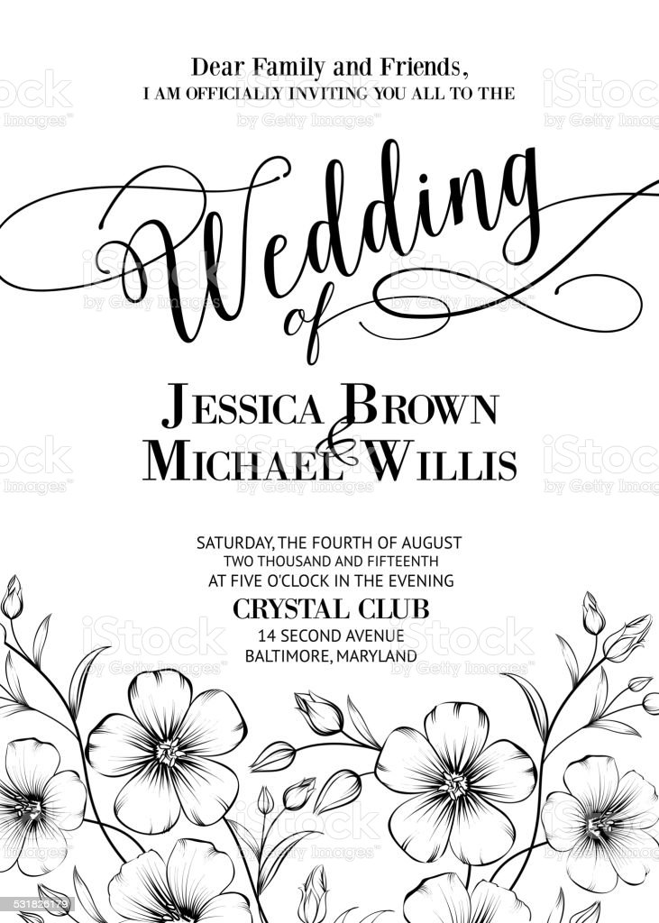 Merveilleux Awesome Wedding Invitation. Vector Art Illustration