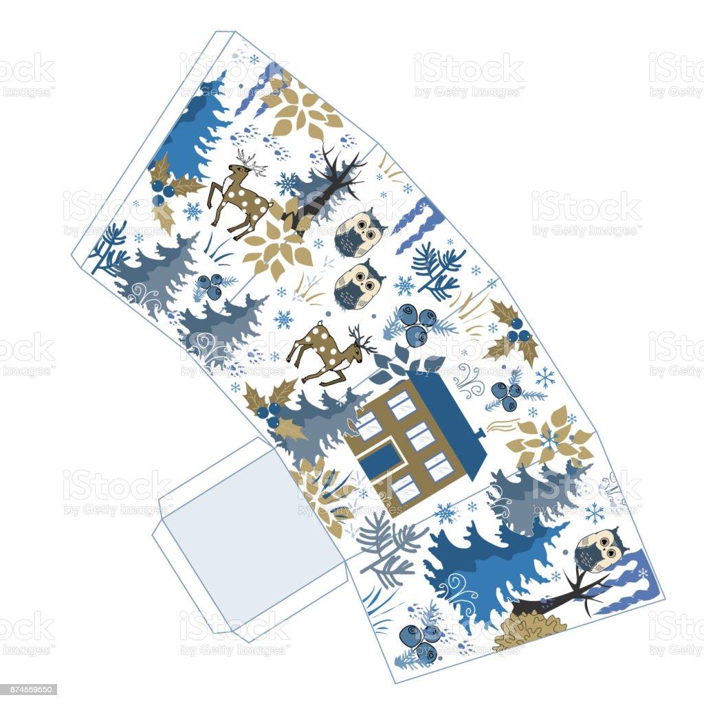 Super Winterweihnachtspopcornbox Im Doodle Winter Wald Stil Gunst ...