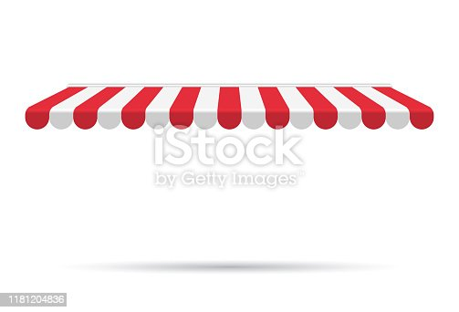 Awning canopy for shops, cafes and street restaurants. Striped red and white sunshade. Vector illustration. Outside canopy from the sun.