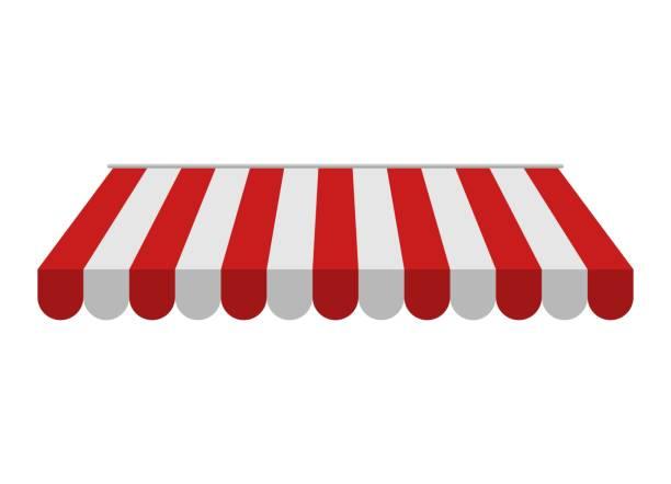 illustrazioni stock, clip art, cartoni animati e icone di tendenza di tenda da sole isolata su sfondo bianco. ombrellone rosso e bianco a strisce per negozi, caffè e ristoranti di strada. baldacchino esterno dal sole - bancarella