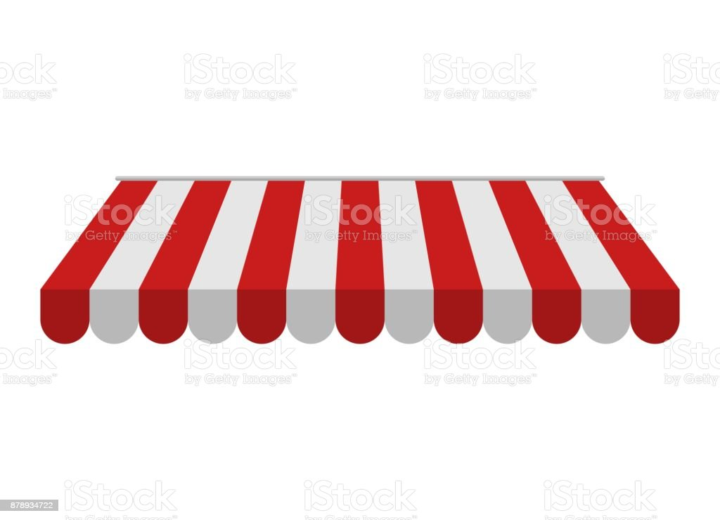 Awning isolated on white background. Striped red and white sunshade for shops, cafes and street restaurants. Outside canopy from the sun vector art illustration