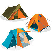 Awning tourist camping tents icons collection. Hiking pavilions vector illustration