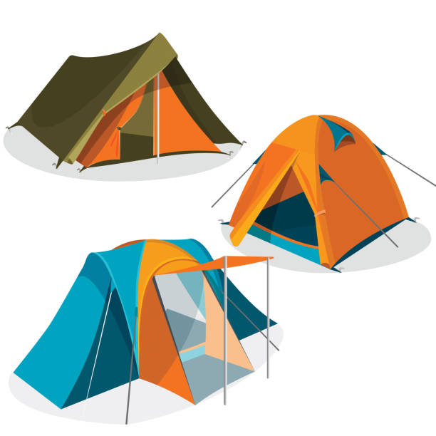 Awning tourist camping tents icons collection. Hiking pavilions vector illustration vector art illustration