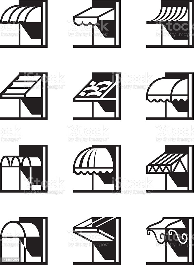 Awnings and canopies of buildings vector art illustration