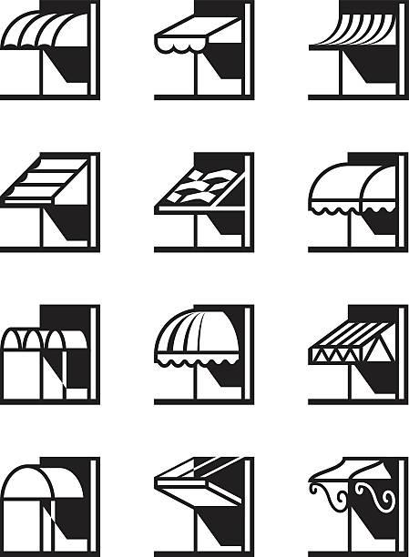 markisen und baldachine von gebäuden - ziegelwände stock-grafiken, -clipart, -cartoons und -symbole