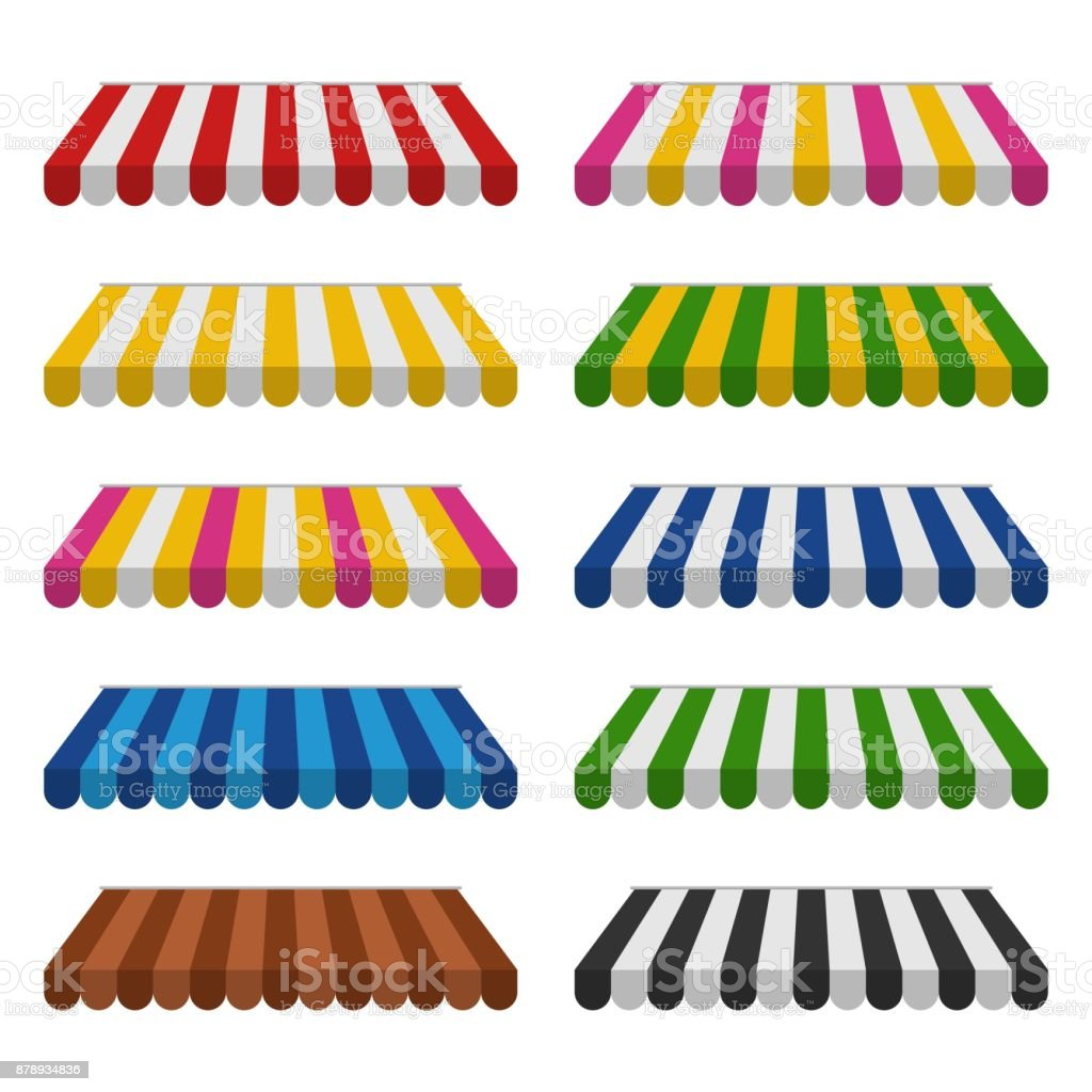 Awnings set isolated on white background. Striped colorful sunshade for shops, cafes and street restaurants. Outside canopy from the sun vector art illustration