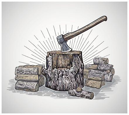 Ax in a wooden stump.