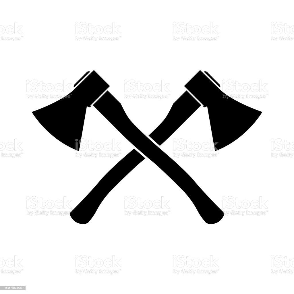 Axe Icon Silhouette On White Background Stock Illustration