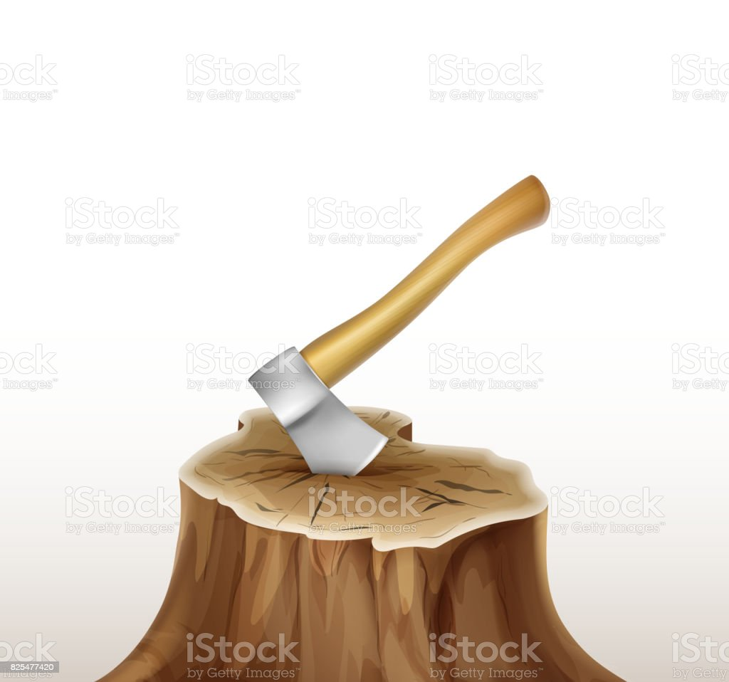 Axe in stump vector art illustration