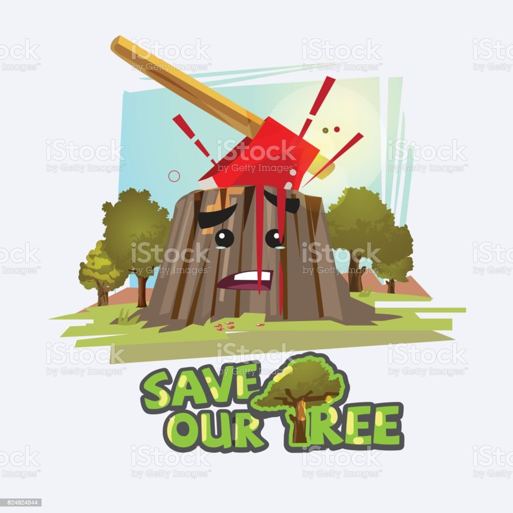 Axe in stump with blood. save the tree concept - vector illustration - vector vector art illustration