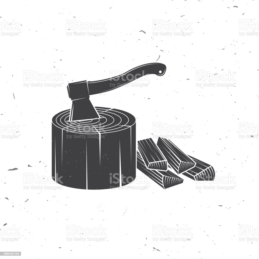 Axe in stump with firewoods silhouette vector art illustration