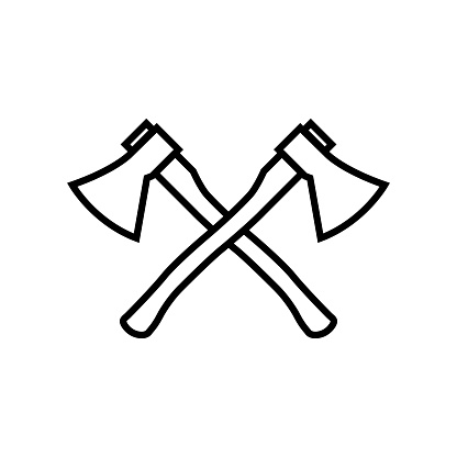 Axe line icon isolated on white background