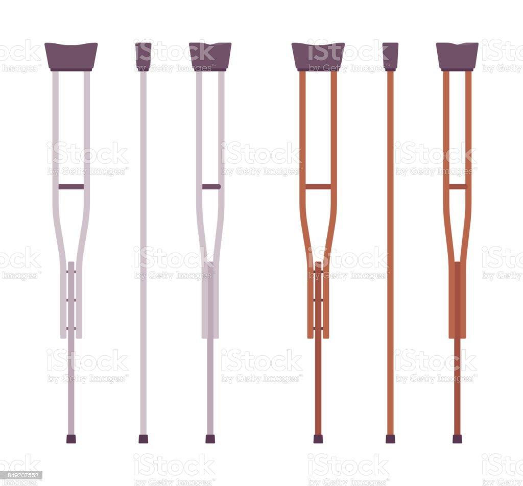 Axillary crutches set vector art illustration
