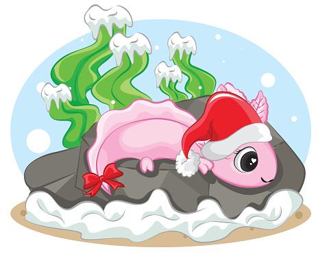 Axolotl (Ambystoma mexicanum) On the santa hat of a christmas background