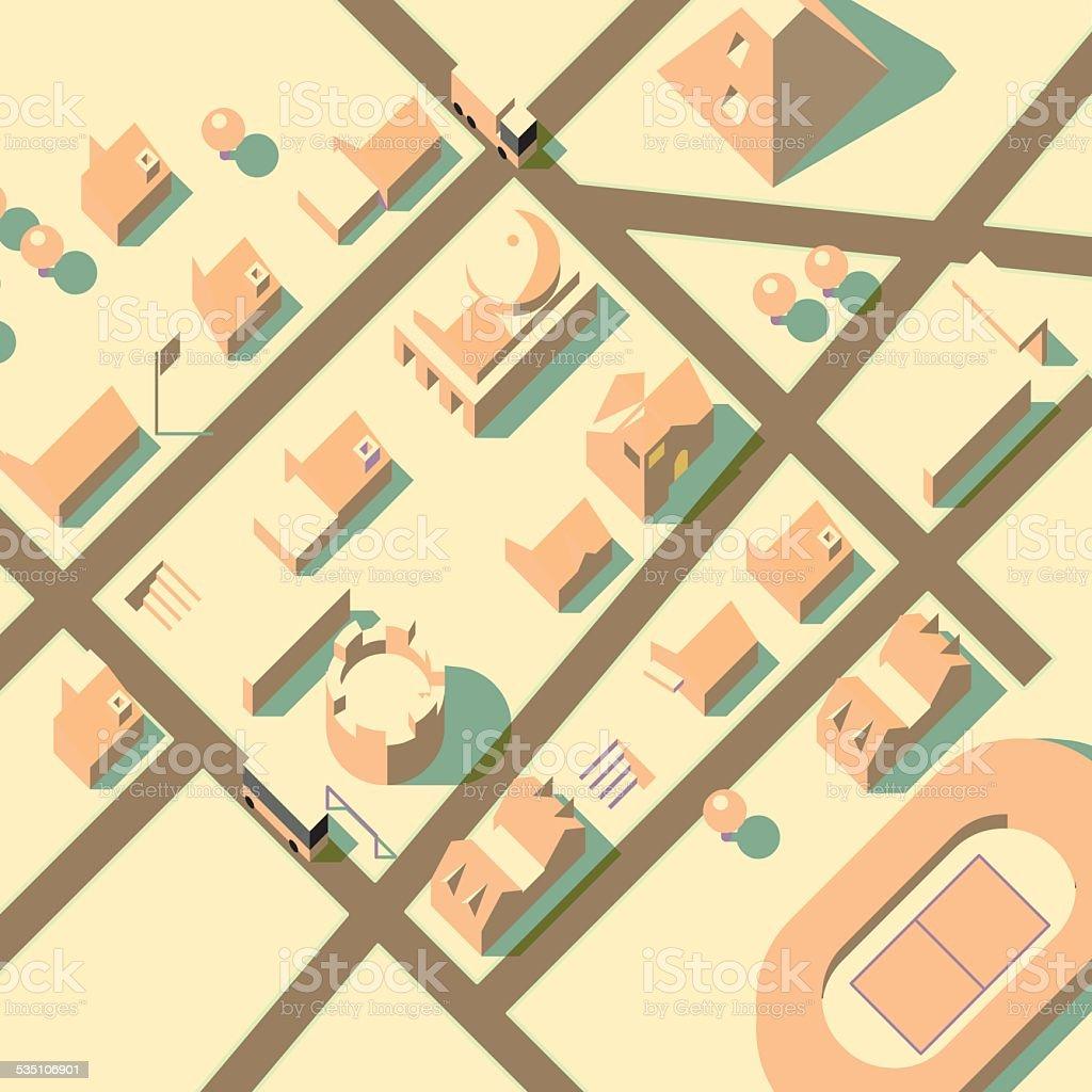 axonometric city view vector art illustration