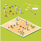 """Kit to build your own 26.57° isometric """"We have moved"""" or """"We are here"""" map. Arrange the building and roads on the board to design your map."""
