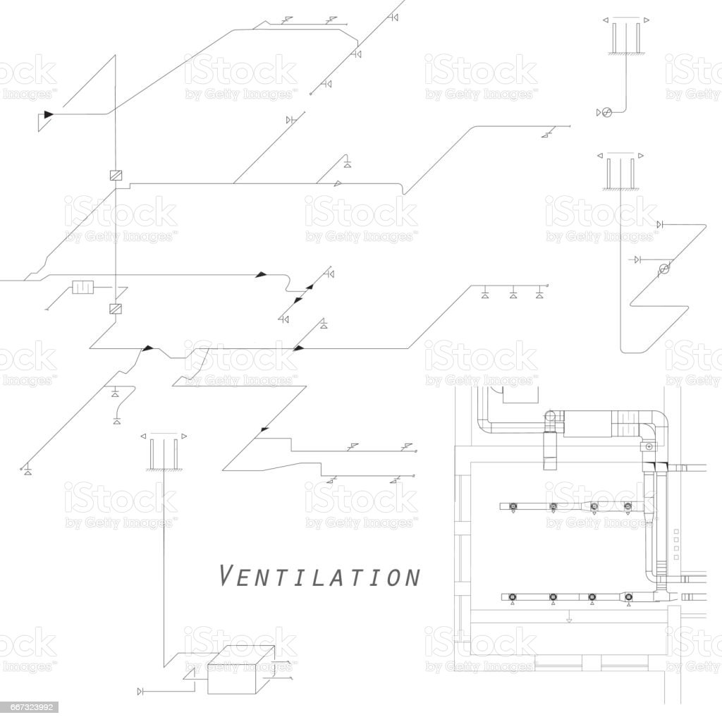 Axonometric View Of The Ventilation System Vector Design For Hvac Duct Drawing Images Royalty Free