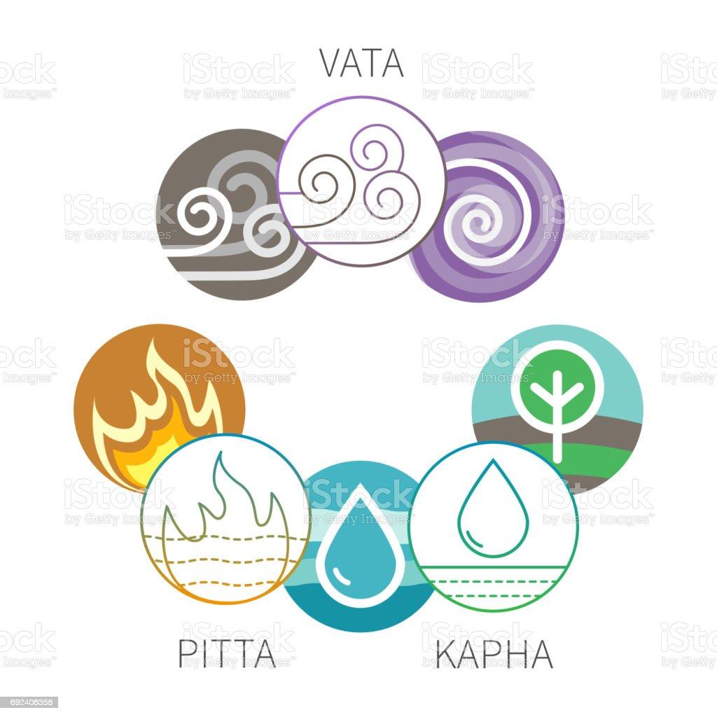 Ayurveda vector elements and doshas symbols isolatedon white vector art illustration