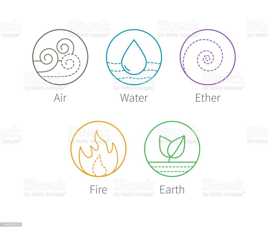 Ayurveda vector illustration. Ayurvedic elements icons vector art illustration