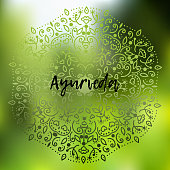 Poster background Template with floral ornament on a blurry background in green tones with the inscription Ayurveda