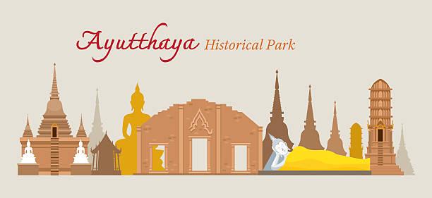 ayutthaya, historischen park, thailand - ayutthaya stock-grafiken, -clipart, -cartoons und -symbole