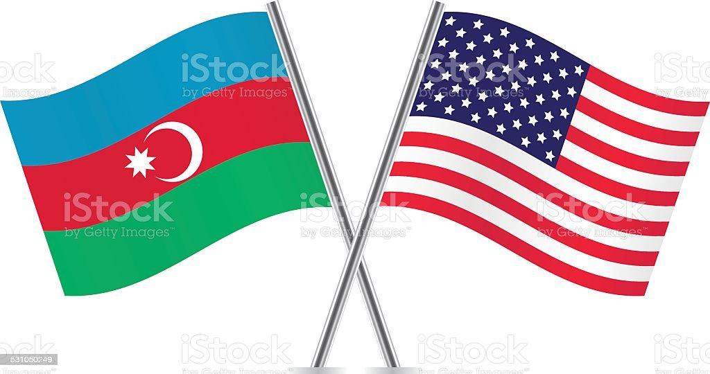 Azerbaijan and American flags. Vector. vector art illustration