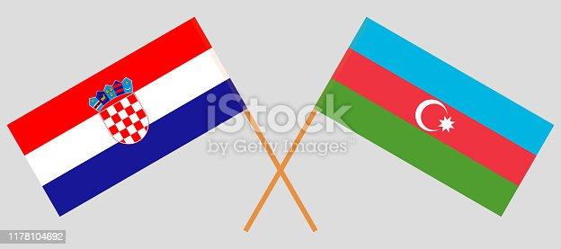 Azerbaijan and Croatia. Crossed Azerbaijani and Croatian flags. Official colors. Correct proportion. Vector illustration