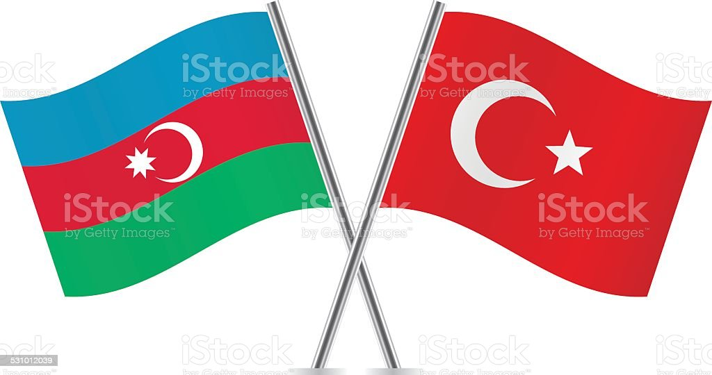 Azerbaijan and Turkish flags. Vector. vector art illustration