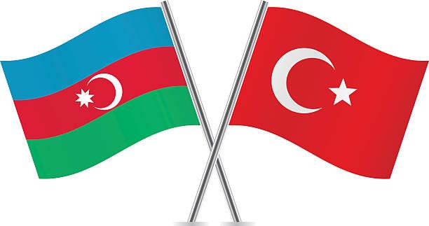 Azerbaijan and Turkish flags. Vector. Azerbaijan and Turkish flags. Vector illustration. azerbaijan stock illustrations