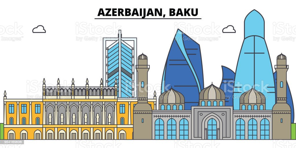 Azerbaijan, Baku. City skyline, architecture, buildings, streets, silhouette, landscape, panorama, landmarks. Editable strokes. Flat design line vector illustration concept. Isolated icons vector art illustration