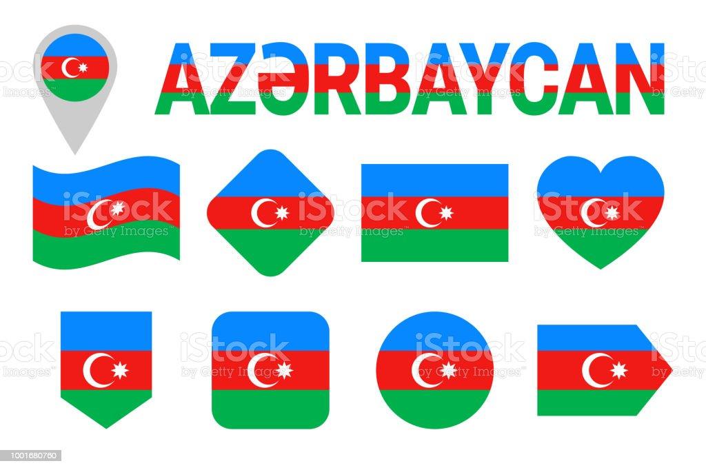 Azerbaijan Flag Icon Set Flat Isolated Symbols Vector Azerbaijani
