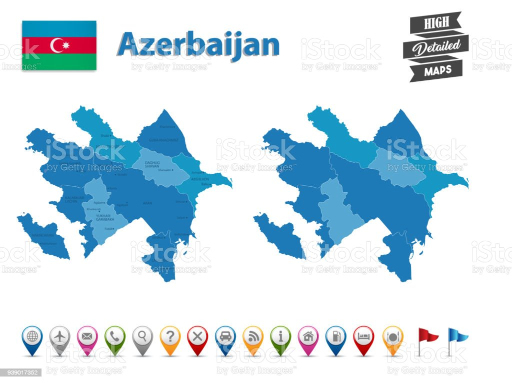Azerbaijan High Detailed Map With Gps Icon Collection Stock