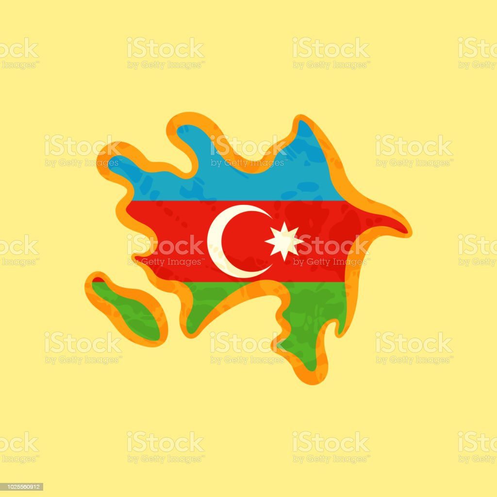 Azerbaijan Map Colored With Azerbaijani Flag Stock Illustration Download Image Now Istock