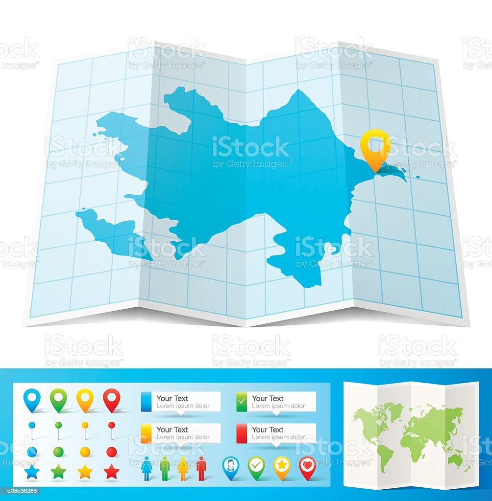Azerbaijan Map with location pins isolated on white Background vector art illustration