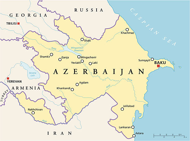 Azerbaijan Political Map Azerbaijan Political Map with capital Baku, national borders, most important cities, rivers and lakes. English labeling and scaling. Illustration. azerbaijan stock illustrations
