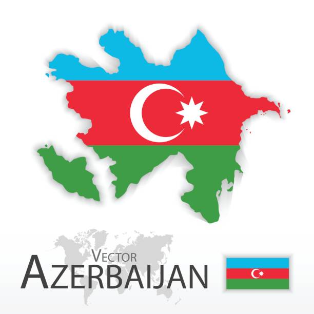 Azerbaijan ( Republic of Azerbaijan ) ( flag and map ) ( transportation and tourism concept ) vector art illustration