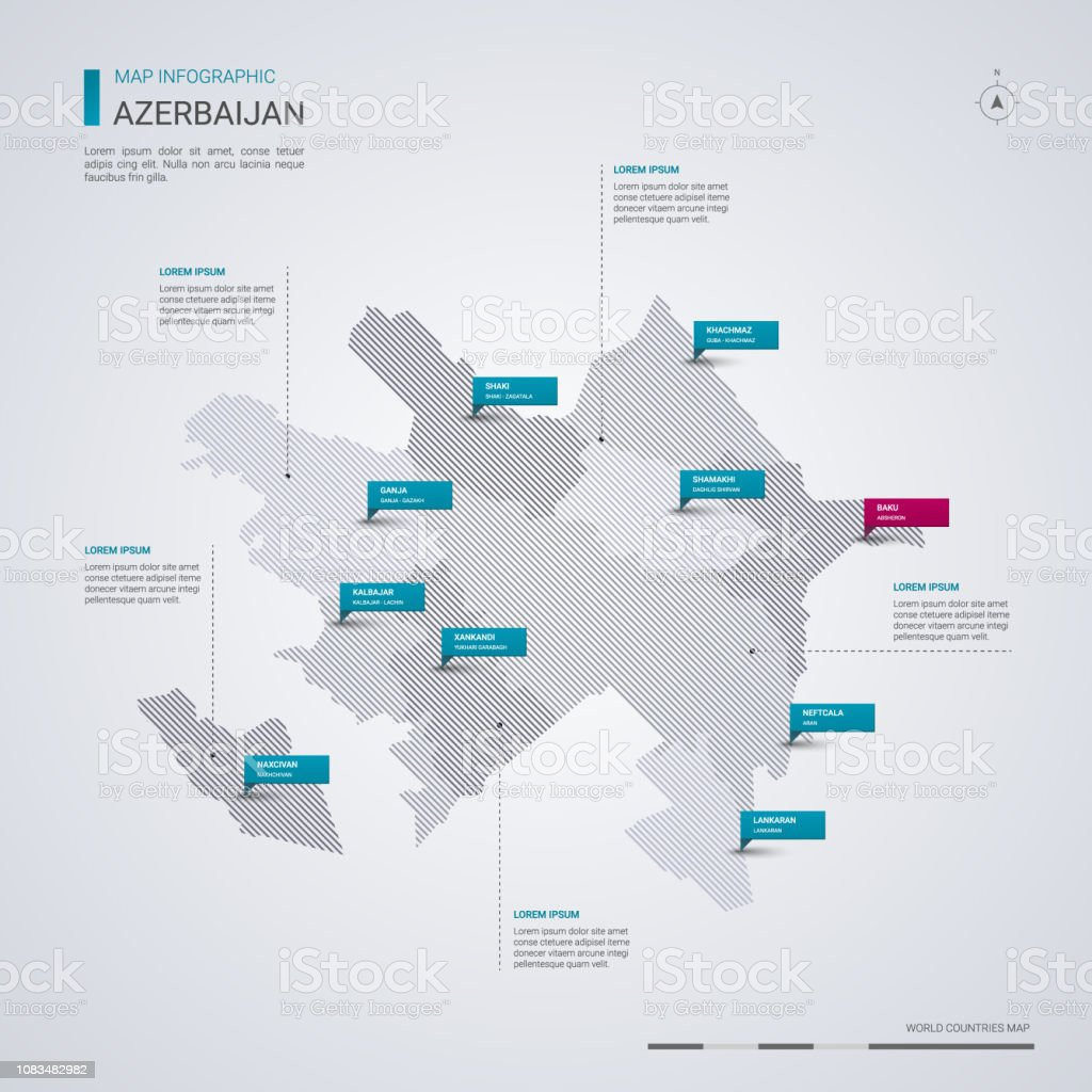 Aserbaidschan Vektorkarte Mit Infografik Elemente Zeiger Marken Regionen Stadte Und Hauptstadt Baku Stock Vektor Art Und Mehr Bilder Von Aserbaidschan Istock