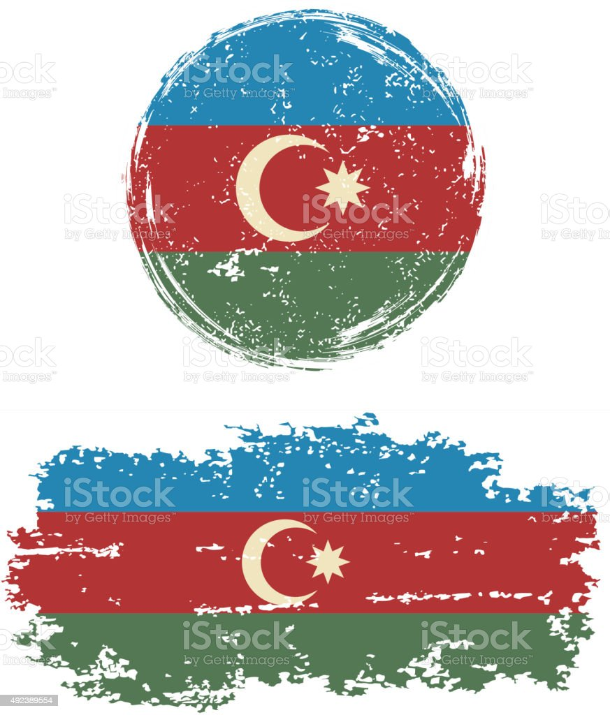 Azerbaijani round and square grunge flags. Vector illustration vector art illustration