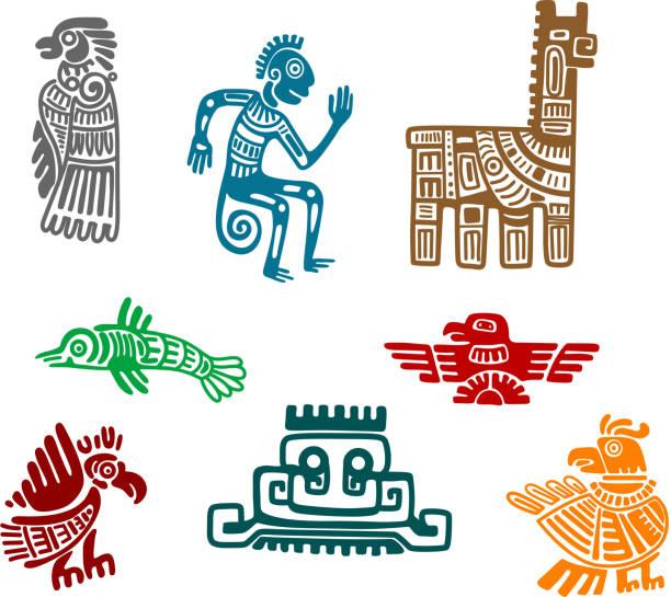 ilustraciones, imágenes clip art, dibujos animados e iconos de stock de azteca y maya antiguo ilustración art - tatuajes tribales
