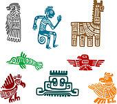 Aztec and maya ancient drawing art
