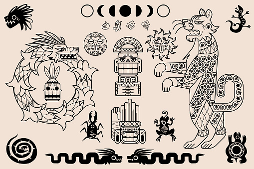 Aztec and mayan ornaments, ancient mexican pattern