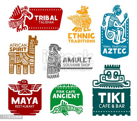 Maya and Aztec tribal signs, corporate business identity icons. Vector Mayan and Aztec birds and animals ethnic symbols of fish cafe, restaurant or cafe and bar, souvenirs art shop and tourism