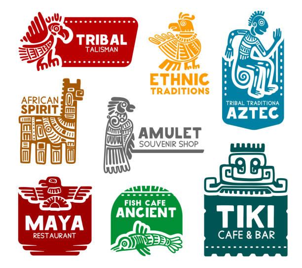 illustrazioni stock, clip art, cartoni animati e icone di tendenza di simboli aztechi e maya, icone di identità aziendali - banchi di pesci