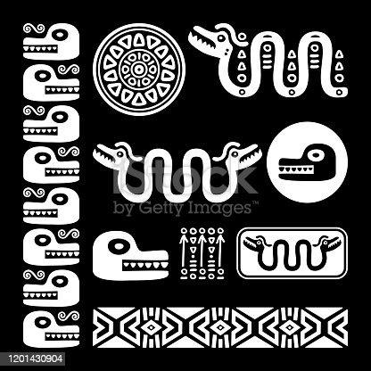 istock Aztec animals, Mayan snake, ancient Mexican vector design set in white on black background 1201430904
