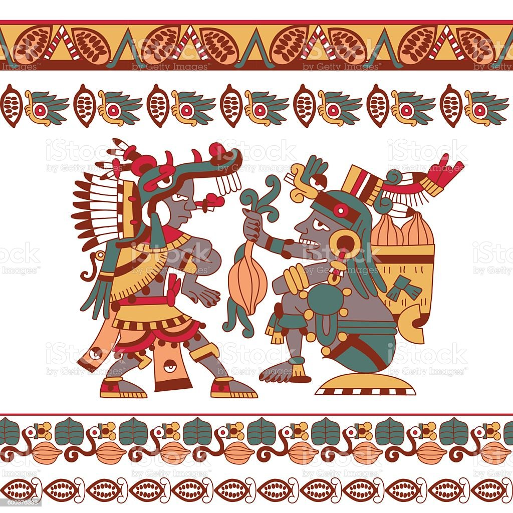 aztec chocolate pattern vector art illustration