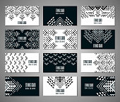 Aztec black and white colored ornamental card template. American indian leaflet design. Tribal decorative pattern. Ethnic ornate background. Vintage style flyer. EPS 10 vector brochure set.