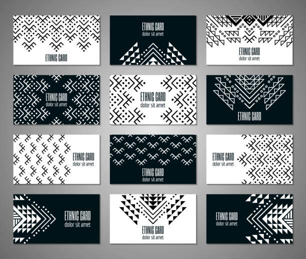 Aztec colorful ornamental card template. Aztec black and white colored ornamental card template. American indian leaflet design. Tribal decorative pattern. Ethnic ornate background. Vintage style flyer. EPS 10 vector brochure set. mexico stock illustrations