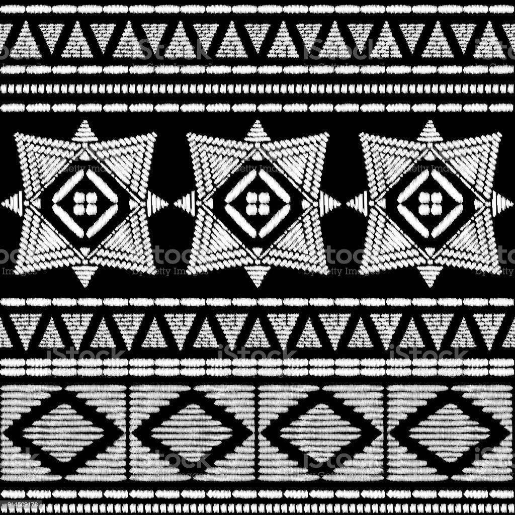 Aztekische Stickerei Muster Design Nahtlos Vektor. Abstrakte Geometrische  Grenze Textur Mit Ikat Boho